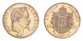 FRANCE. Napoleon III, 1852-70. 50 Francs, 1867 A, Paris, 16.13 g. Fr-582; Gad-1112; F-548; KM-804.  Laureate head of Napoleon III facing right, NAPOLE...