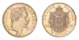 FRANCE. Napoleon III, 1852-70. 50 Francs, 1868 A, Paris, 16.13 g. Fr-582; Gad-1112; F-548; KM-804.  Laureate head of Napoleon III facing right, NAPOLE...