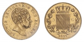 GERMANY: BADEN. Ludwig I, 1818-30. 5 Gulden, 1819, Mannheim, 3.39 g. Fb. 150; Schl. 10; Wielandt 838a; KM 176.2.  Very rare low mintage issue. Good ve...