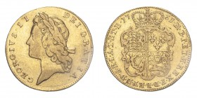 GREAT BRITAIN. George II, 1727-60. Guinea, 1731, London, 8.32 g. S-3672; KM-573.1.  Second (narrower) young laureate head left. Legend reads GEORGIVS·...