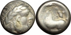 Celtic World. Celtic, Middle-Lower Danube. AR Tetradrachm, imitating Philip II of Macedon, 3rd-2nd century BC. D/ Head of Zeus right, laureate. R/ Hor...