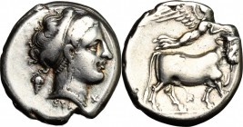 Greek Italy. Central and Southern Campania, Neapolis. AR Didrachm, c. 320-300 BC. D/ Head of nymph right, diademed, wearing earring and necklace; behi...