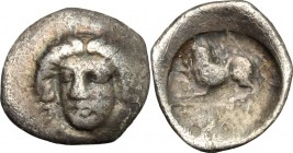 Greek Italy. Central and Southern Campania, Phistelia. AR Obol, 325-275 BC. D/ Head of nymph facing. R/ Lion left. HN Italy 619. AR. g. 0.61 mm. 11.50...