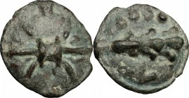 Greek Italy. Northern Apulia, Luceria. AE cast Quatrunx, 217-212 BC. D/ Thunderbolt. R/ Club surrounded by four pellets. HN Italy 677b. AE. g. 27.05 m...
