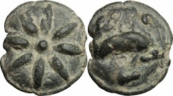 Greek Italy. Northern Apulia, Luceria. AE cast Terunx, 217-212 BC. D/ Eight-rayed star. R/ Dolphin right. HN Italy 677c. AE. g. 21.98 mm. 28.00 Earthy...