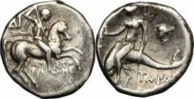 Greek Italy. Southern Apulia, Tarentum. AR Drachm, 272-240 BC. D/ Horseman right, holding spear and shield. R/ Phalantos riding on dolphin left, holdi...