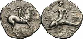 Greek Italy. Southern Apulia, Tarentum. AR Reduced Nomos or Half Shekel, Hannibalic Occupation 212-209 BC. D/ Horseman right, holding palm and crownin...