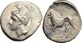 Greek Italy. Northern Lucania, Velia. AR Didrachm, 334-300 BC. D/ Head of Athena right, helmeted. R/ Lion walking left. HN Italy 1291. AR. g. 6.77 mm....
