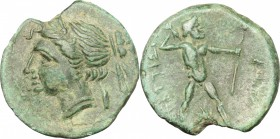 Greek Italy. Bruttium, The Brettii. AE Half, 214-211 BC. D/ Head of Nike left, diademed. R/ Zeus striding right, hurling thunderbolt and holding scept...