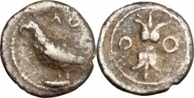 Greek Italy. Bruttium, Locri. AR Triobol, c. 350 BC. D/ Eagle standing left. R/ Thunderbolt between two annulets. HN Italy 2332. AR. g. 0.68 mm. 10.00...