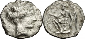 Greek Italy. Bruttium, Terina. AR Triobol, circa 420-400 BC. D/ Female head right, hair bound with sphendone. R/ Winged Nike seated left on cippus, ho...
