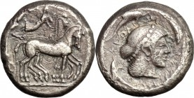 Sicily. Syracuse. Gelon (485-478 BC). AR Tetradrachm, 485-478 BC. D/ Quadriga right; above, Nike flying right and crowning the horses. R/ Head of Aret...