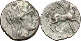 Punic Sicily. Punic Sicily. AE 20mm, 213-211 BC. D/ Head of Demeter right, veiled. R/ Horse leaping right; behind, palm-tree. SNG Cop. 381. AE. g. 6.1...