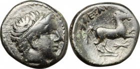 Continental Greece. Kings of Macedon. Alexander III 'the Great' (336-323 BC). AE 16mm, 336-323 BC. D/ Head of Apollo right, wearing taenia. R/ Horse p...