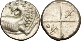 Continental Greece. Thrace, Chersonesos. AR Hemidrachm, 386-368 BC. D/ Forepart of lion right, head turned back. R/ Incuse square with four fields; in...