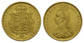 England Victoria, 1837-19011/2 Sovereign 1887.Friedb. 393, Se­aby 3869, Schlumb. 371 Gold 3.99g  fast FDC