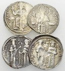 Andronikos II, and Michael IX, Lot of 4 AR Basilika 