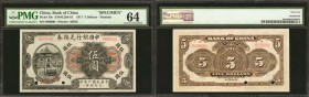 CHINA--REPUBLIC. Bank of China. 5 Dollars, 1917. P-39s. Specimen. PMG Choice Uncirculated 64.
