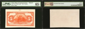 CHINA--REPUBLIC. Bank of Communications. 5 Dollars, 1913. P-111p. Proof. PMG Gem Uncirculated 65 EPQ.