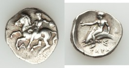 CALABRIA. Tarentum. Ca. 380-375/70 BC. AR stater or nomos (7.95 gm). VF. Naked horseman dismounting left, holding small round shield; A below / TAPAΣ,...