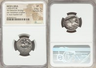 SICILY. Gela. Ca. 490-475 BC. AR didrachm (21mm, 8.64 gm, 5h). NGC VF 3/5 - 4/5. Horseman, nude save for pileus, on horse galloping right, brandishing...