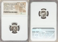 MACEDONIAN KINGDOM. Perseus (179-168 BC). AR drachm (17mm, 2.70 gm, 6h). NGC Choice AU 5/5 - 4/5. Pseudo-Rhodian, Greek mercenaries issue, ca. 175-170...