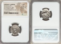 THESSALY. Larissa. Ca. 356-342 BC. AR drachm (20mm, 6.14 gm, 5h). NGC AU 5/5 - 4/5. Head of nymph Larissa facing slightly left, wearing ampyx and wire...