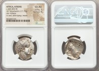 ATTICA. Athens. Ca. 440-404 BC. AR tetradrachm (23mm, 17.19 gm, 9h). NGC Choice AU 5/5 - 4/5. Mid-mass coinage issue. Head of Athena right, wearing cr...