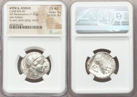 ATTICA. Athens. Ca. 440-404 BC. AR tetradrachm (25mm, 17.21 gm, 10h). NGC Choice AU 5/5 - 4/5. Mid-mass coinage issue. Head of Athena right, wearing c...