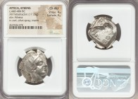 ATTICA. Athens. Ca. 440-404 BC. AR tetradrachm (23mm, 17.15 gm, 8h). NGC Choice AU 4/5 - 4/5. Mid-mass coinage issue. Head of Athena right, wearing cr...