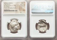 ATTICA. Athens. Ca. 440-404 BC. AR tetradrachm (23mm, 17.17 gm, 1h). NGC AU 5/5 - 4/5. Mid-mass coinage issue. Head of Athena right, wearing crested A...