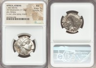 ATTICA. Athens. Ca. 440-404 BC. AR tetradrachm (25mm, 17.16 gm, 4h). NGC AU 5/5 - 4/5. Mid-mass coinage issue. Head of Athena right, wearing crested A...