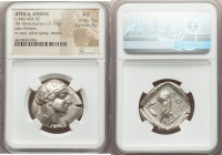 ATTICA. Athens. Ca. 440-404 BC. AR tetradrachm (27mm, 17.17 gm, 11h). NGC AU 5/5 - 4/5. Mid-mass coinage issue. Head of Athena right, wearing crested ...