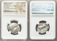 ATTICA. Athens. Ca. 440-404 BC. AR tetradrachm (25mm, 17.22 gm, 1h). NGC AU 4/5 - 5/5. Mid-mass coinage issue. Head of Athena right, wearing crested A...