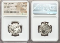 ATTICA. Athens. Ca. 440-404 BC. AR tetradrachm (24mm, 17.12 gm, 11h). NGC AU 5/5 - 3/5, countermark. Mid-mass coinage issue. Head of Athena right, wea...