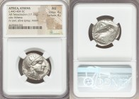 ATTICA. Athens. Ca. 440-404 BC. AR tetradrachm (24mm, 17.17 gm, 7h). NGC AU 4/5 - 4/5. Mid-mass coinage issue. Head of Athena right, wearing crested A...