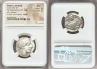 ATTICA. Athens. Ca. 440-404 BC. AR tetradrachm (23mm, 17.16 gm, 7h). NGC AU 4/5 - 4/5. Mid-mass coinage issue. Head of Athena right, wearing crested A...