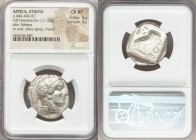 ATTICA. Athens. Ca. 440-404 BC. AR tetradrachm (26mm, 17.20 gm, 7h). NGC Choice XF 5/5 - 3/5. Mid-mass coinage issue. Head of Athena right, wearing cr...