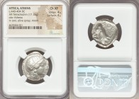 ATTICA. Athens. Ca. 440-404 BC. AR tetradrachm (24mm, 17.15 gm, 4h). NGC Choice XF 4/5 - 4/5. Mid-mass coinage issue. Head of Athena right, wearing cr...