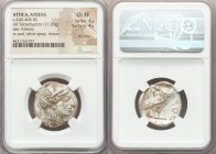 ATTICA. Athens. Ca. 440-404 BC. AR tetradrachm (24mm, 17.20 gm, 1h). NGC Choice XF 4/5 - 4/5, die shift. Mid-mass coinage issue. Head of Athena right,...