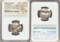 ATTICA. Athens. Ca. 440-404 BC. AR tetradrachm (24mm, 17.15 gm, 8h). NGC XF 5/5 - 4/5. Mid-mass coinage issue. Head of Athena right, wearing crested A...