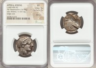 ATTICA. Athens. Ca. 440-404 BC. AR tetradrachm (24mm, 16.98 gm, 9h). NGC XF 5/5 - 2/5, test cut, edge cuts. Mid-mass coinage issue. Head of Athena rig...