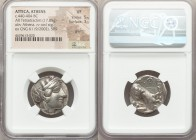ATTICA. Athens. Ca. 440-404 BC. AR tetradrachm (23mm, 17.05 gm, 9h). NGC VF 5/5 - 3/5, graffiti. Mid-mass coinage issue. Head of Athena right, wearing...