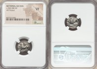 SICYONIA. Sicyon. Ca. 350-280 BC. AR triobol or hemidrachm (15mm, 5h). NGC VF. Chimera standing left, raising right forepaw; ΣI below / Dove flying le...