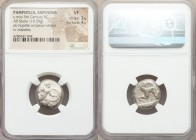 PAMPHYLIA. Aspendus. Ca. mid-5th century BC. AR stater (18mm, 10.59 gm). NGC VF 3/5 - 4/5. Helmeted hoplite advancing right, spear forward in right ha...