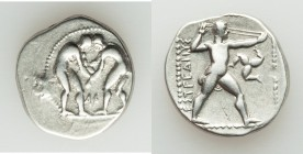 PAMPHYLIA. Aspendus. Ca. 420-370 BC. AR stater (21mm, 10.67 gm, 1h). VF. Two wrestlers grappling; AΦ below, dotted border / EΣTFEΔIIYΣ, slinger stridi...