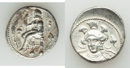 CILICIA. Tarsus. Balacros, as Satrap (333-323 BC). AR stater (23mm, 10.92 gm, 4h). VF. Baaltars seated left, holding lotus-tipped scepter, grain ear a...