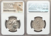 SELEUCID KINGDOM. Antiochus VII Euergetes-Sidetes (138-129 BC). AR tetradrachm (29mm, 12h). NGC AU, die shift. Posthumous issue of Cappadocian Kingdom...
