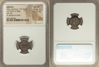 JUDAEA. Herodians. Alexander Jannaeus (103-76 BC). AE prutah (15mm, 2.08 gm, 12h). NGC Choice VF 4/5 - 4/5. Yehonatan the King (Paleo-Hebrew), lily; b...