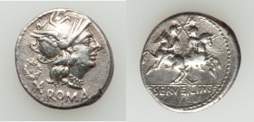 C. Servilius M.f. (ca. 136 BC). AR denarius (19mm, 3.79 gm, 6h). VF. Rome. ROMA, head of Roma right, wearing winged helmet decorated with griffin cres...